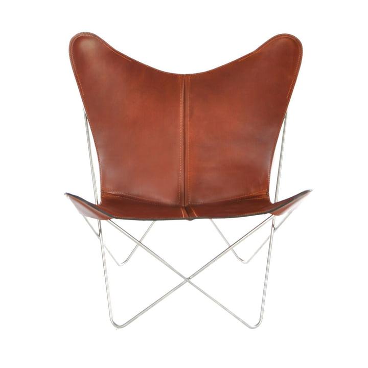 Ox Denmarq - Trifolium Chair, Edelstahl/ Leder cognac