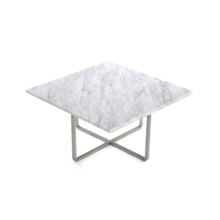 Ninety Couchtisch 60 x 60 cm von Ox Denmarq aus Edelstahl / Marmor Weiß