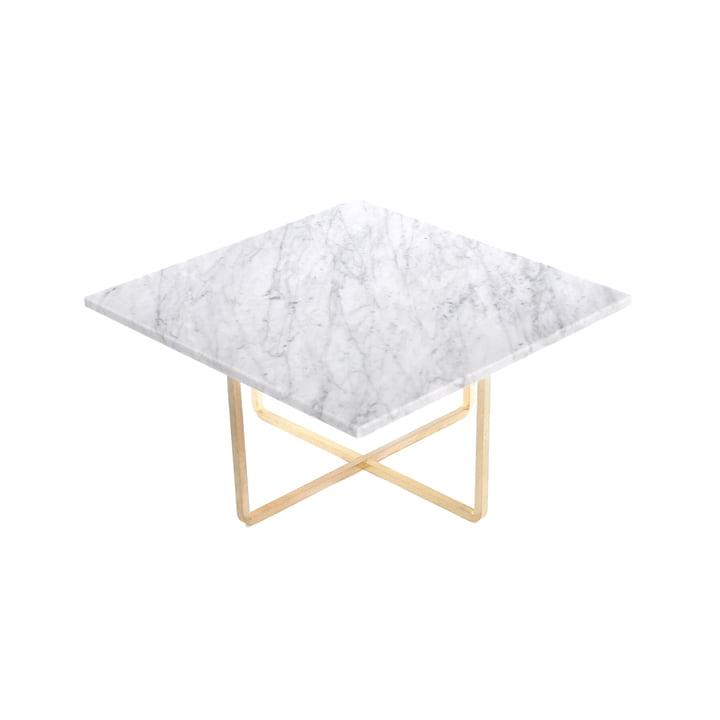 Ninety Couchtisch 60 x 60 cm von Ox Denmarq aus Messing / Marmor Weiß