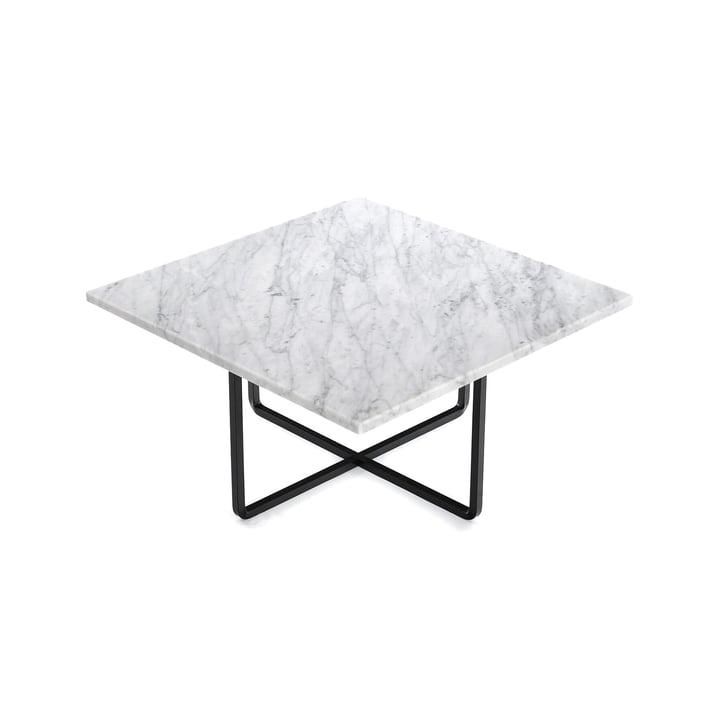 Ninety Couchtisch 60 x 60 cm von Ox Denmarq aus Stahl Schwarz / Marmor Weiß
