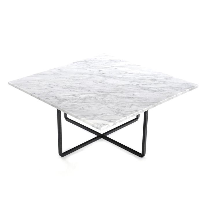 Ninety Couchtisch 80 x 80 cm von Ox Denmarq aus Stahl Schwarz / Marmor Weiß