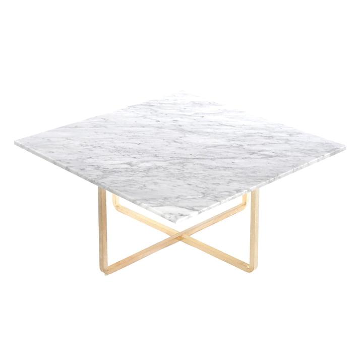 Ninety Couchtisch 80 x 80 cm von Ox Denmarq aus Messing / Marmor Weiß