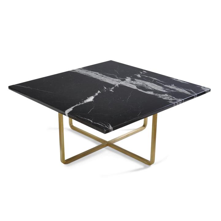 Ninety Couchtisch 80 x 80 cm von Ox Denmarq aus Messing / Marmor Schwarz