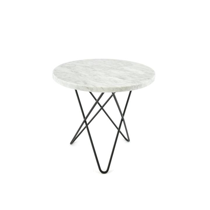 Mini O Beistelltisch Ø 40 cm von Ox Denmarq in Stahl Schwarz/ Marmor Weiß