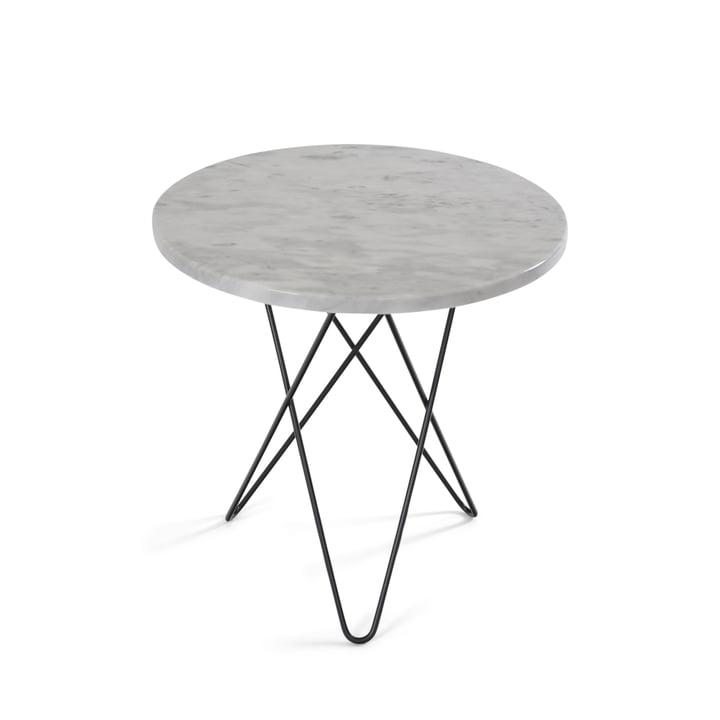 Tall Mini O Beistelltisch Ø 50 cm von Ox Denmarq in Stahl Schwarz/ Marmor Weiß