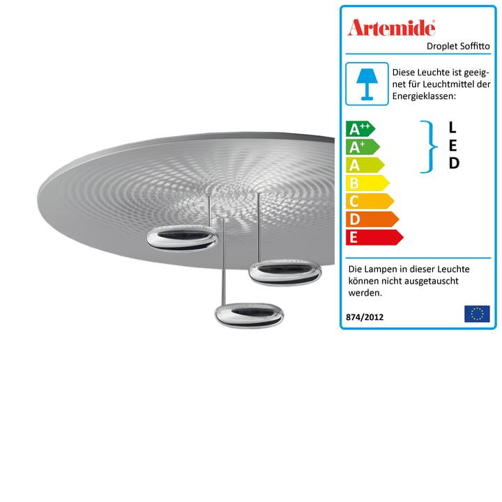 Artemide - Droplet Soffitto LED Deckenleuchte, Chrom / aluminiumgrau