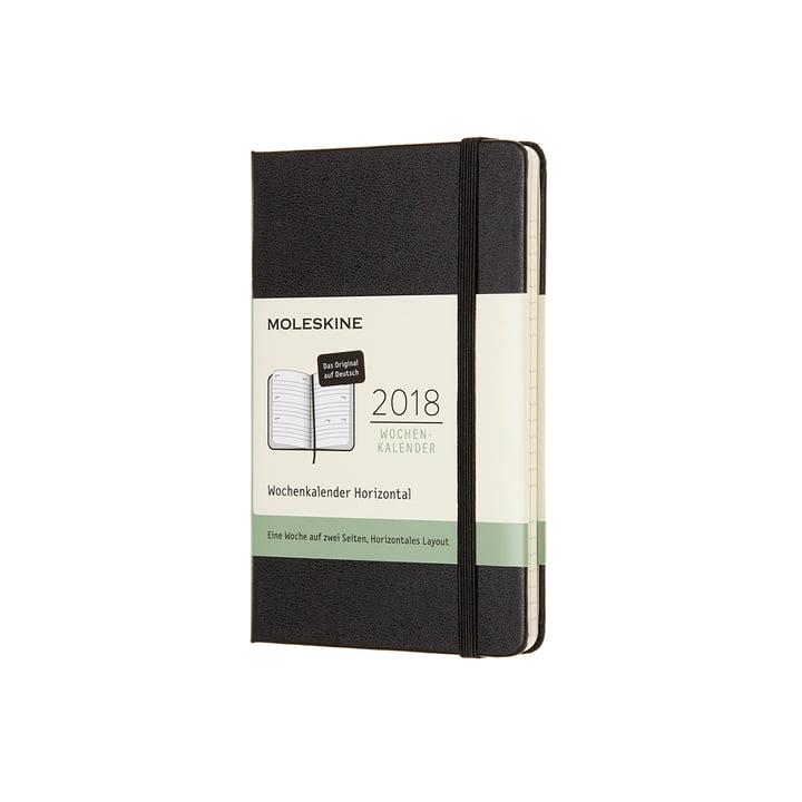 Moleskine - 12 Monate Wochenkalender 2018 (Deutsch), Pocket A6, Hardcover schwarz