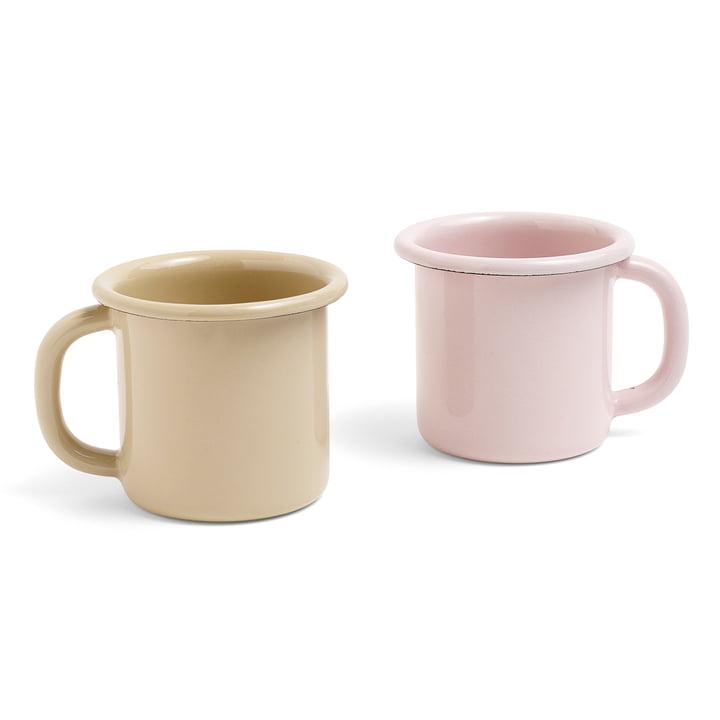 Emaille Becher mit Henkel von Hay in Braun und Soft Pink