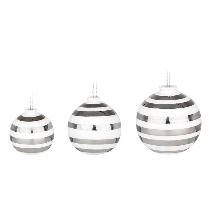 Omaggio Christbaumkugeln von Kähler Design in Silber (3er-Set)