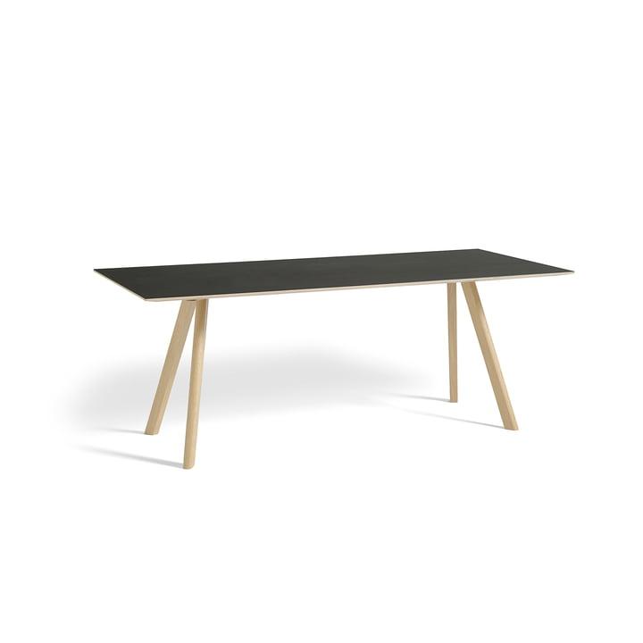 Copenhague CPH30 Esstisch 200 x 90 cm von Hay in Eiche matt lackiert / Tischplatte Linoleum schwarz