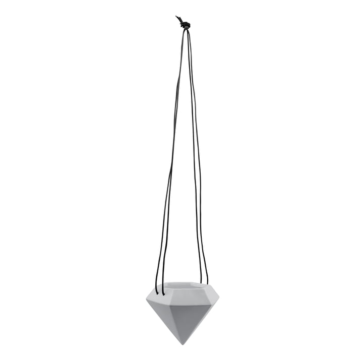 Novoform - Diamond hängender Keramikblumentopf groß, hellgrau / schwarzes Leder