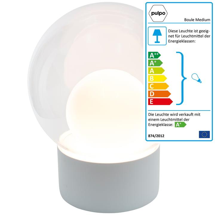 Die Pulpo - Boule Medium Stehleuchte, transparent / weiß / Sockel weiß