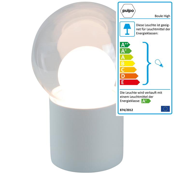 Die Pulpo - Boule High Stehleuchte, transparent / weiß / Sockel weiß