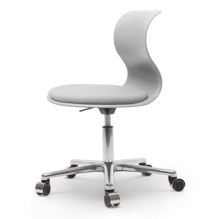 Pro 6 Drehstuhl mit PRO-Matic von Flötotto aus Aluminium poliert / Granitgrau mit Sitzpolster Granitgrau