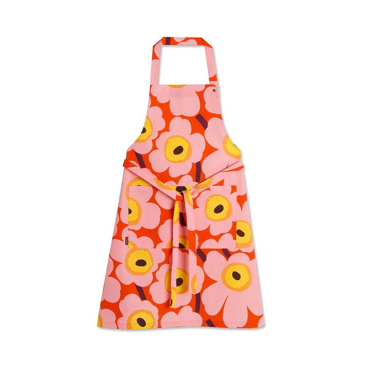 Küchenschürze Unikko von Marimekko mit Blumenprint in Orange / Rosa / Gelb