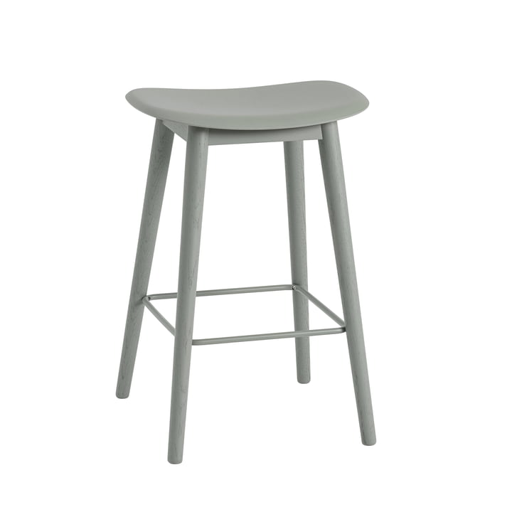 Fiber Barhocker Wood Base H 65 cm von Muuto in Grau