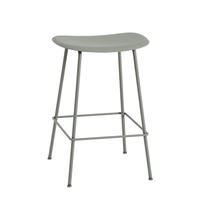 Fiber Barhocker Tube Base H 65 cm von Muuto in grau