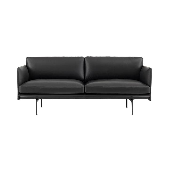 Outline Studio Sofa 2-Sitzer von Muuto in Leder Schwarz/ Schwarz