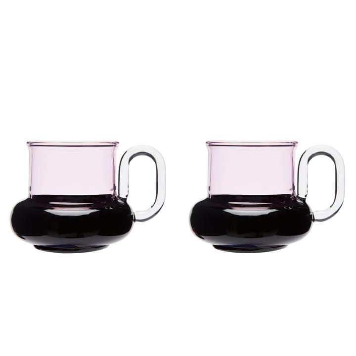 Die Tom Dixon - Bump Teetasse, grau / rosa (2er-Set)