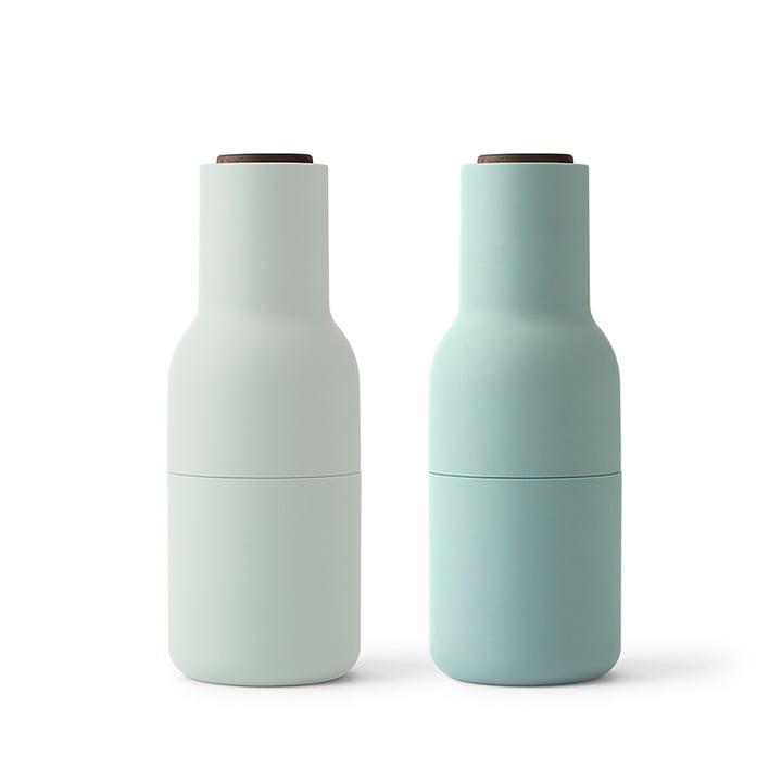 Menu - Bottle Salz- und Pfeffermühlen Set, moss green (Holzdeckel Walnuss)