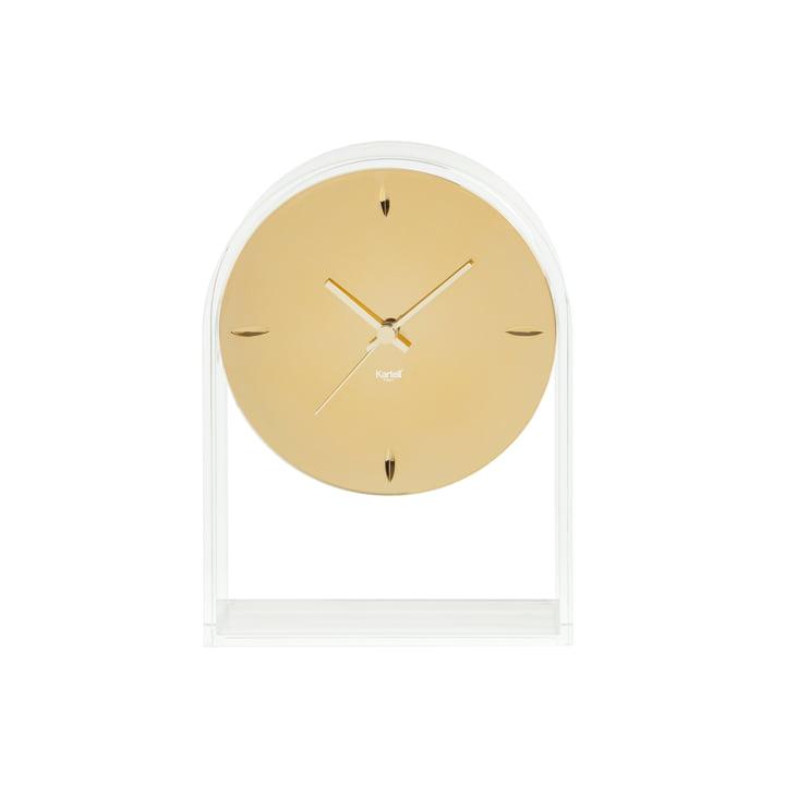 Die Kartell - Air du Temps Tischuhr, glasklar / gold