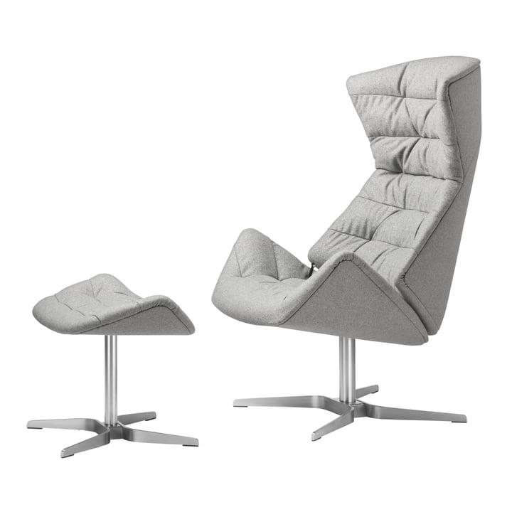 808 Lounge-Sessel und 808 Hocker von Thonet Gestell Edelstahl / Stoff Bergen (905 Grau)