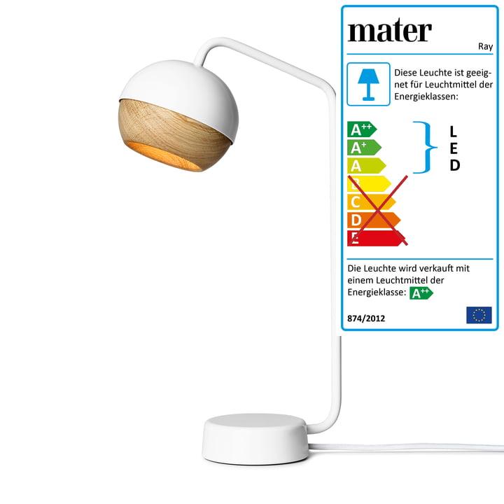 Ray Tischleuchte H 40,1 cm von Mater in Weiß