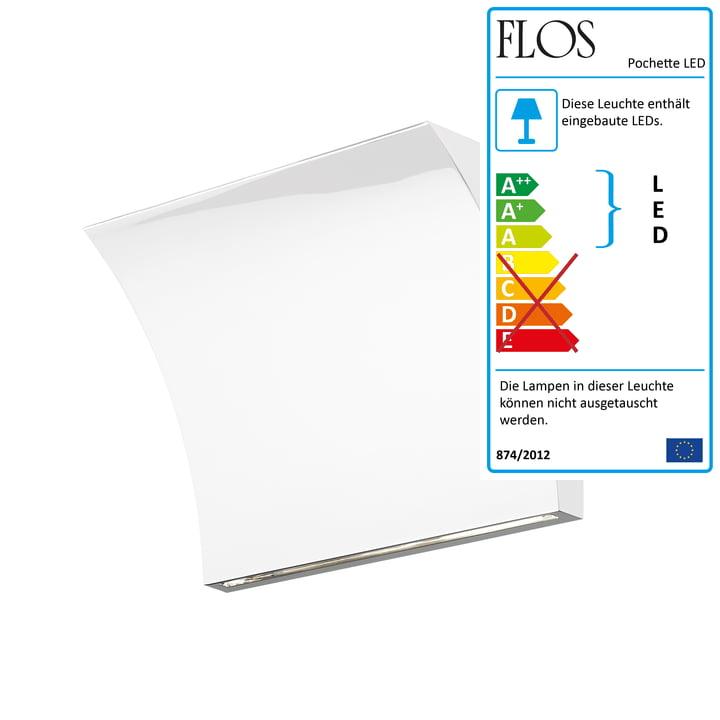 Pochette LED Up/Down Wandleuchte von Flos in Weiß
