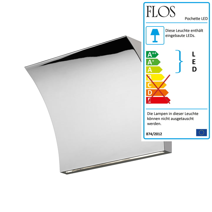 Pochette LED Up/Down Wandleuchte von Flos in Chrom