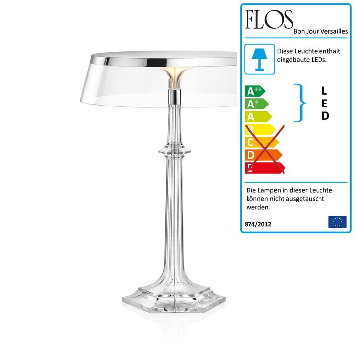 Bon Jour Versailles LED Tischleuchte H 42,3 cm von Flos in Chrom / Krone transparent