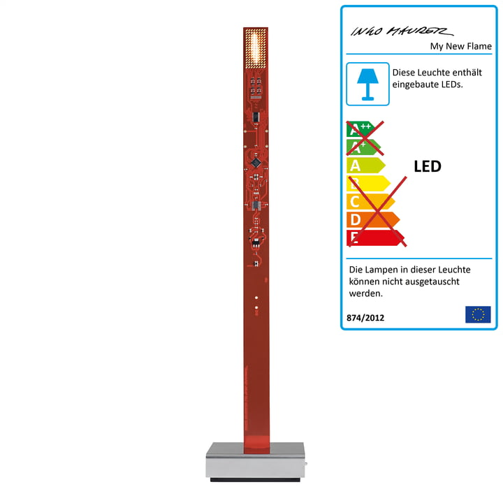 My New Flame LED Candle Tischleuchte USB von Ingo Maurer in Rot