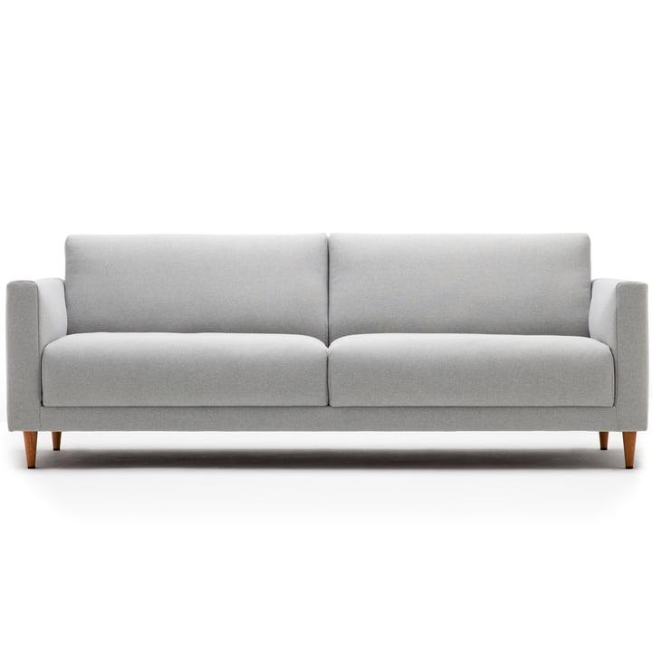 141 Sofa 3-Sitzer, L 190 cm von freistil mit Kegelfuß Eiche natur / Bezug lichtgrau (3007)