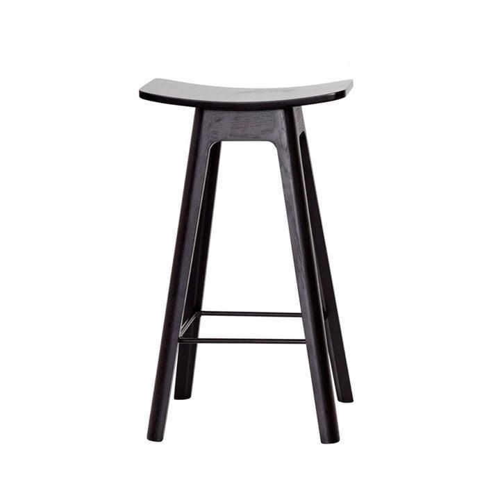 Der Andersen Furniture - HC1 Barhocker H 67 cm, Untergestell schwarz / Furniersitz schwarz / Fußstütze schwarz