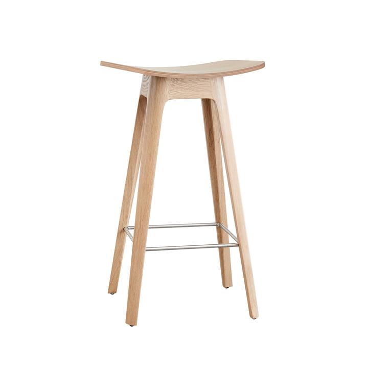 Andersen Furniture - HC1 Barhocker H 67 cm, Gestell Eiche / Furniersitz Eiche / Fußstütze Edelstahl