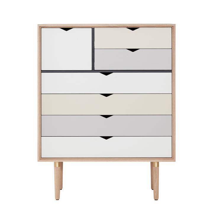 Die Andersen Furniture - S8 Kommode, Eiche geseift / Fronten mehrfarbig