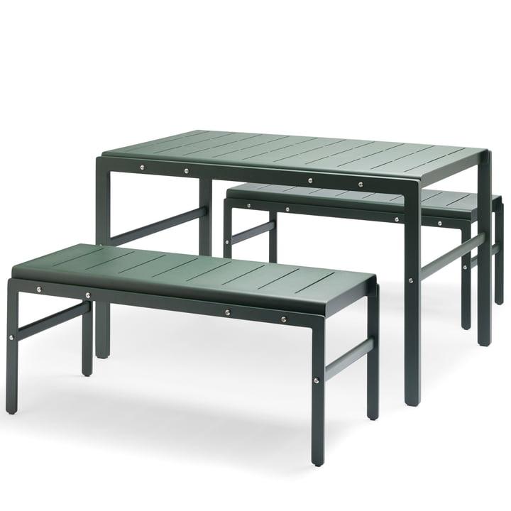 Skagerak - Reform Kampagnen-Set, jagdgrün (1 Tisch und 2 Bänke)