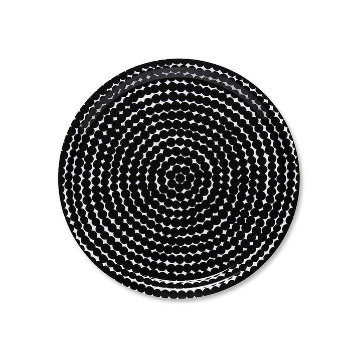 Das Marimekko - Räsymatto Tablett rund Ø 31 cm in schwarz / weiß