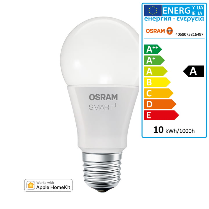 Die Osram - SMART+ Classic A60 RGBW E27 Multicolor LED Lampe für Apple Home Kit