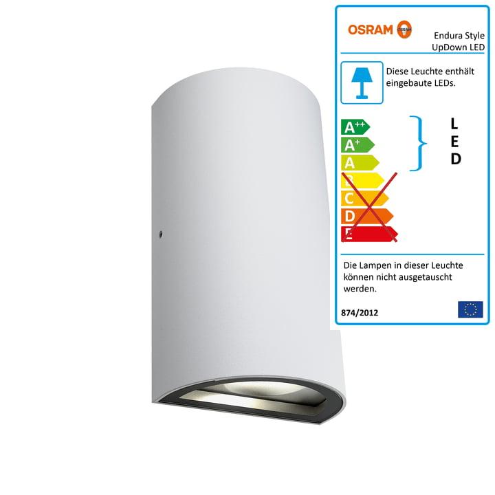 Endura Style UpDown LED Wandleuchte Outdoor, IP 44 /Warmweiß 3000K von Osram in Weiß