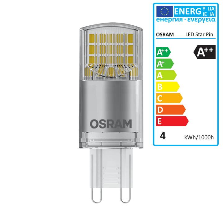 Star Pin 40 LED Leuchtmittel, G9 / 230 V, 3,8 W, Warmweiß 2700K, 470 lm von Osram in klar