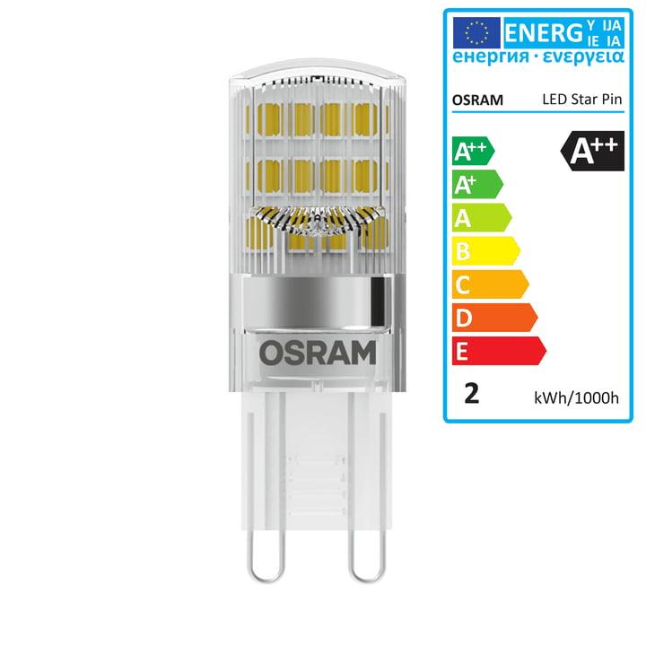 Osram - Star Pin 20 LED Leuchtmittel, G9 / 230 V, 1,9 W, Warmweiß 2700K, 200 lm, klar