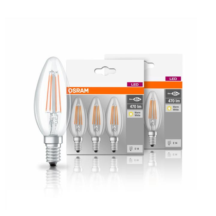 Osram - LED Base Classic B 40 Filament Leuchtmittel, E14 / 4 W, Warmweiß 2700K, 470 lm, klar (6er-Set)