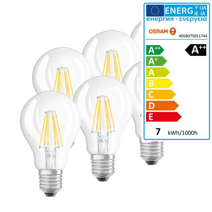 Osram - LED Base Filament Leuchtmittel, E27 / 7 W, Warmweiß 2700K, 806 lm, klar (6er-Set)