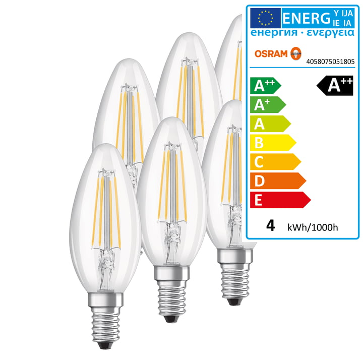 LED Base Classic B 40 Filament Leuchtmittel, E14 / 4 W, Warmweiß 2700K, 470 lm von Osram in klar (6er-Set)