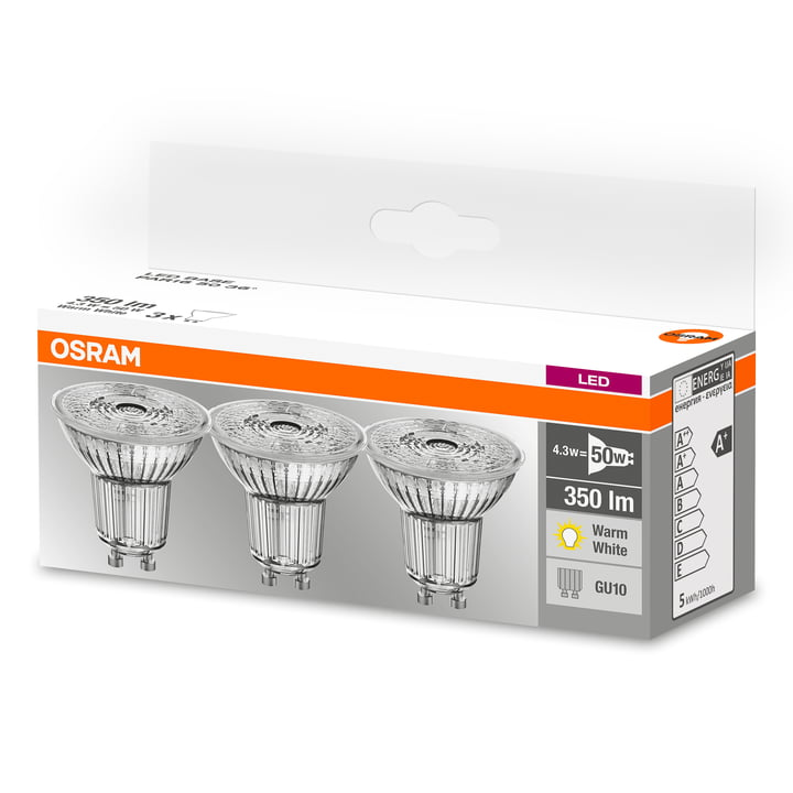Osram - Base PAR16 LED Reflektorlampe, GU10 / 4,3 W, Warmweiß 2700K, 350 lm, klar (3er-Set)