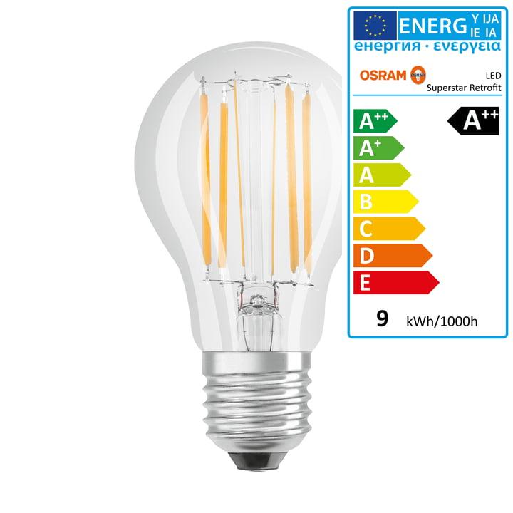 Osram - Retrofit Classic A75 Filament LED Leuchtmittel, E27 / 8,5 W, Warmweiß 2700K, 1055 lm, dimmbar / klar