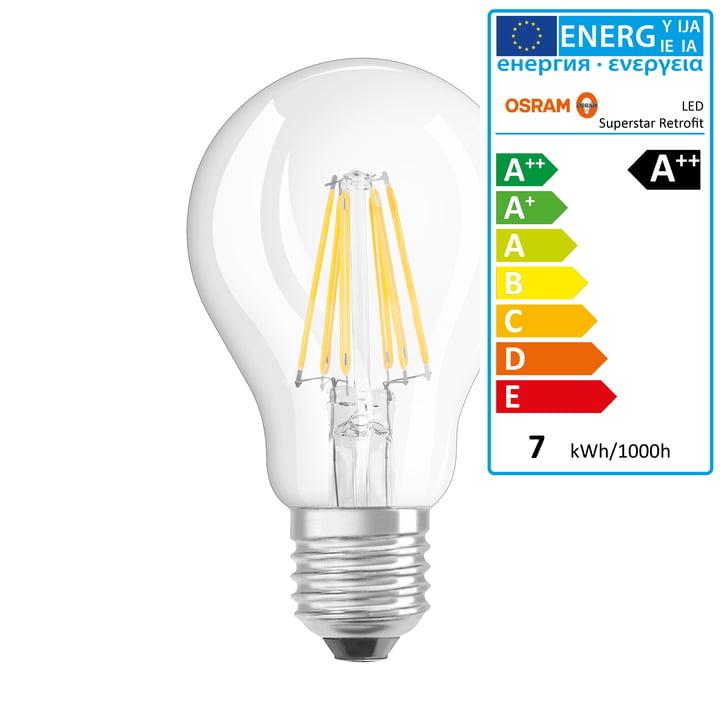Osram - Retrofit Classic A60 Filament LED Leuchtmittel, E27 / 6,5 W, Warmweiß 2700K, 806 lm, dimmbar / klar