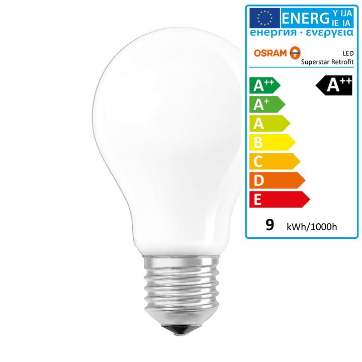 Osram - Superstar Classic A75 Filament LED Leuchtmittel, E27 / 8,5 W, Warmweiß 2700K, 1055 lm, dimmbar / matt