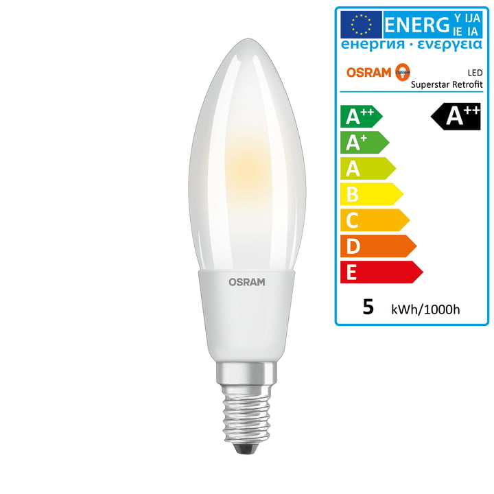 Osram - Superstar Classic B50 Filament LED Leuchtmittel, E14 / 5 W, Warmweiß 2700K, 640 lm, dimmbar / matt