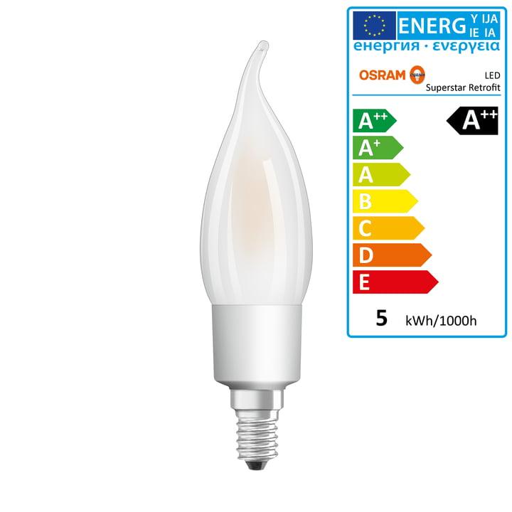Osram - Superstar Classic BA40 Filament LED Leuchtmittel, E14 / 4,5 W, Warmweiß 2700K, 470 lm, dimmbar / matt